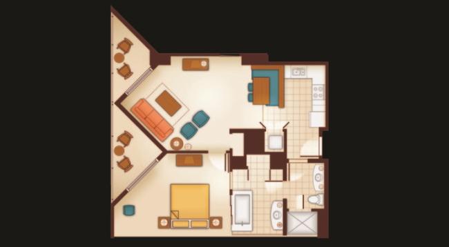 キッチン付きリビングルームとベッドルーム1部屋が分かれた1ベッドルーム/アウラニ/イメージ(c)Disney