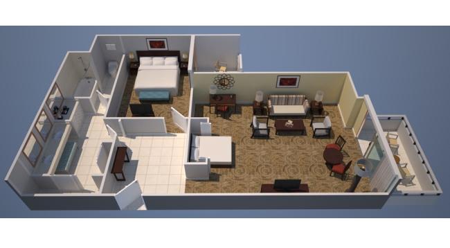 ダイヤモンドヘッド側!リビングルームと寝室が分かれた1ベッドルームです/イメージ